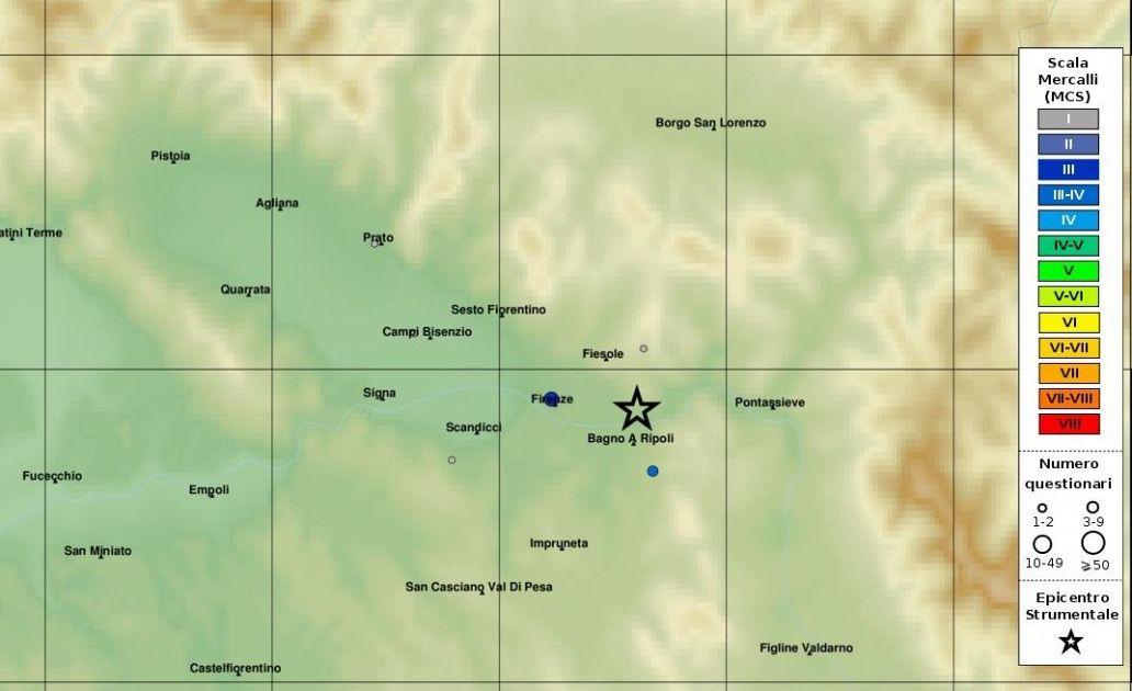 Terremoto epicentro a bagno a ripoli scossa avvertita a for Bagno a ripoli mappa